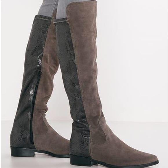 Tamaris knee high boots brown suede & snake skin NWT